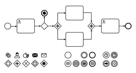 Business process diagrams with icons flat vector illustration. Icons for notation bpmn. Concept for actions and processes. Diagram with actions, messages, time, participants.