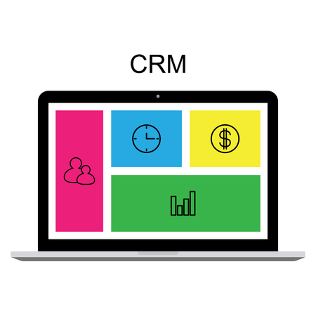 CRM customer relationship management concept flat vector illustration. Computer with CRM interface, icons of management, statistics, tasks, time, clients, money, settings. 일러스트