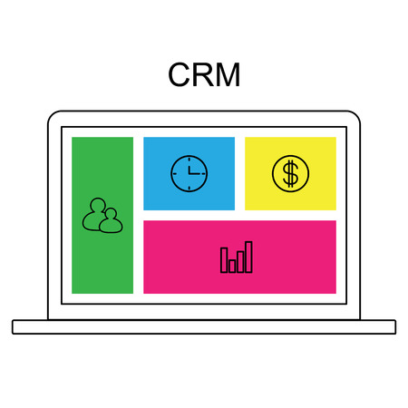 CRM customer relationship management concept flat vector illustration. Laptop with CRM interface, icons of management, statistics, tasks, time, clients, money, settings. 일러스트