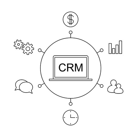 CRM customer relationship management concept flat vector illustration. Set of process control icons, management, statistics, tasks, time, clients, money, settings. Line illustration CRM