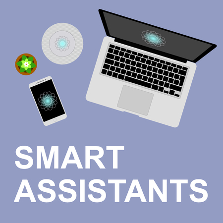 Concept smart assistant flat vector illustration. Smart helpers on the desktop, smart column and voice assistants. Artificial intelligence in everyday life