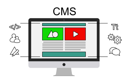 Content management system concept flat vector illustration. Administration website and business marketing concept. Live editing content on the site