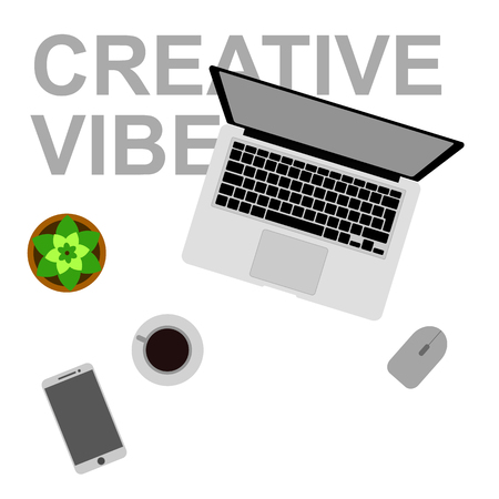 Workplace for work and creativity flat vector illustration. Concept of work, E-learning, education and desktop. Laptop and coffee on the table