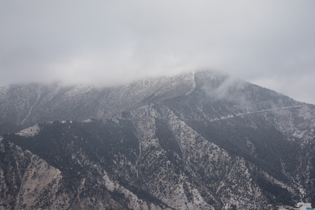 Mountains covered with snow. View of the mountain slopes covered with fir-trees. Mountains and forests on the sky background