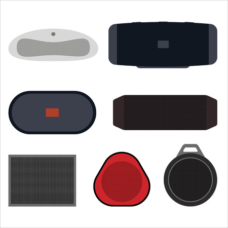 Set of wireless speakers flat vector illustration. Wireless speakers with batteries, music for rest and life. The concept of different speakers.