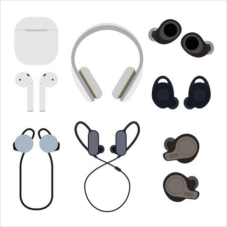 Set of wireless headphones flat vector illustration. Different types of wireless headphones. The concept of modern and tech headphones.