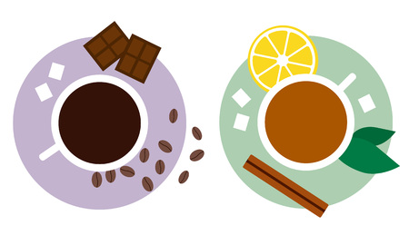 Tea and coffee with sweets flat vector illustration. Tea with cinnamon and lemon, coffee with chocolate and sugar. Concept for tea and coffee, hospitality, cards and banners.
