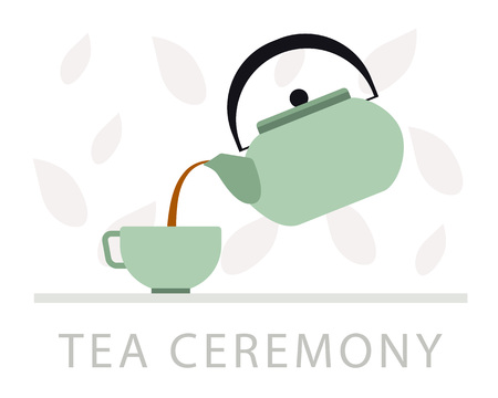 Tea ceremony vector flat illustration. Concept for tea and hospitality, cards and banners 일러스트