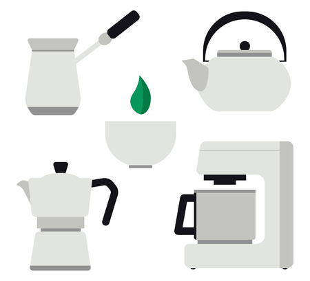 Set of tools for making tea and coffee flat vector illustration. Turk, coffee machine, moka pot, kettle, cup.  Concept for tea and coffee, hospitality, cards and banners