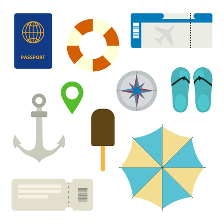 Concept for tourism and recreation. Flat vector illustration with lifebuoy, passport, ticket, map, compass, ice cream, compass, slippers, anchor, umbrella. Vacation banner and greeting card