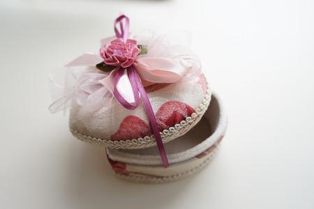 stash: Elegant jewelry box handmade pink heart-shaped velours Stock Photo