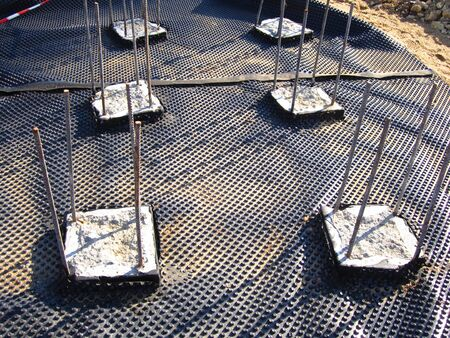 Steel reinforcement foundation frame for subsequent concrete casting