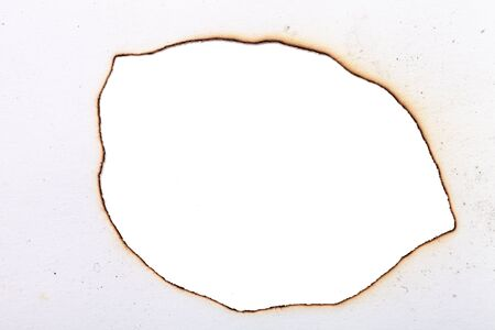 charred paper. centered isolated on a white background