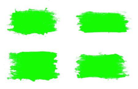 set of green brush strokes isolated on a white background. designer brush