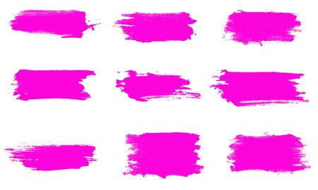 set of pink brush strokes isolated on a white background. designer brush