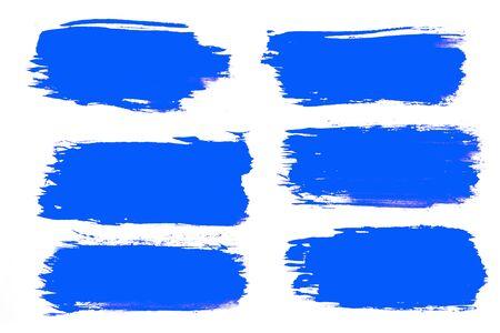 set of blue brush strokes isolated on a white background. designer brush Фото со стока - 150458480
