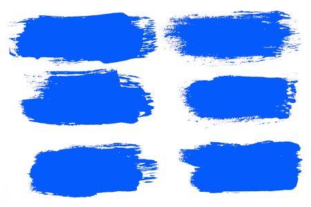 set of blue brush strokes isolated on a white background. designer brush Stockfoto