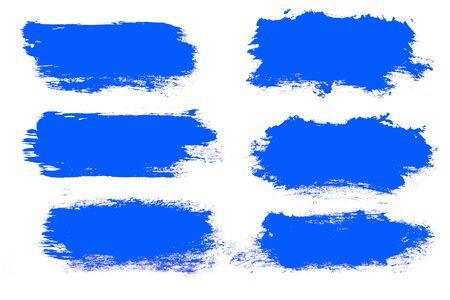 set of blue brush strokes isolated on a white background. designer brush