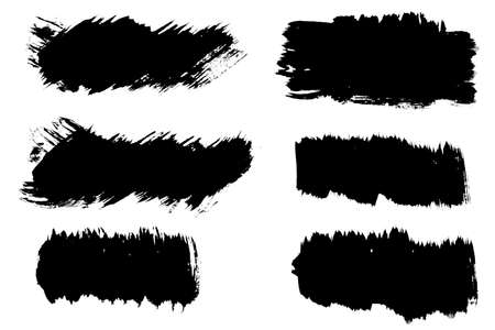 set six black strokes of paint isolated on a white background. design brush