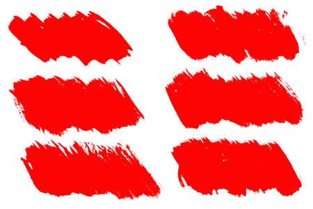 set of red brush strokes isolated on a white background. designer brush