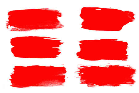 set of red brush strokes isolated on a white background.