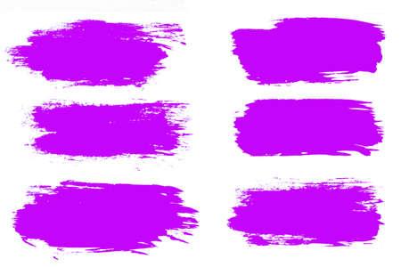 set of violet brush strokes isolated on a white background. designer brush