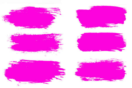set of pink brush strokes isolated on a white background. Stok Fotoğraf