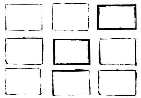 set of black grunge frames isolated on white background Standard-Bild