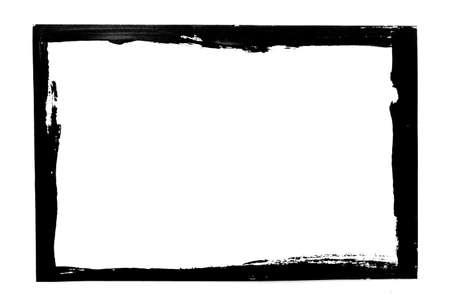Black grunge frame isolated on white background. High quality photo