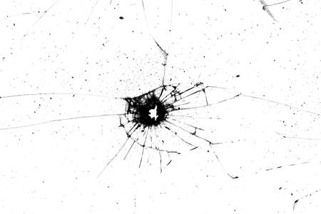 broken glass texture. black cracks on a white background 写真素材