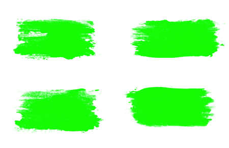 set of green brush strokes isolated on a white background.