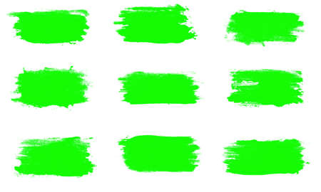 set of green brush strokes isolated on a white background. Foto de archivo - 151354999