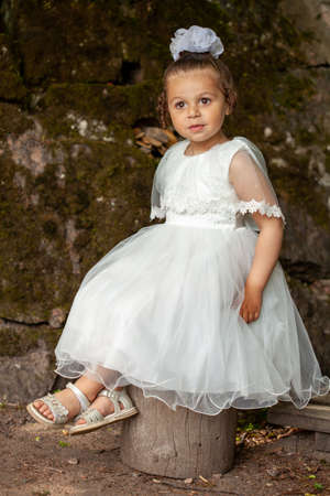 A little girl in a white dress of the bride.
