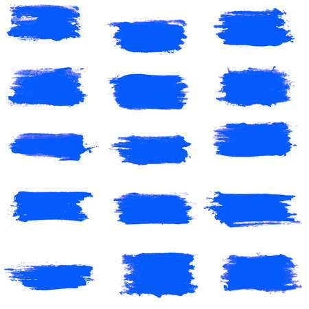 set of blue brush strokes isolated on a white background.