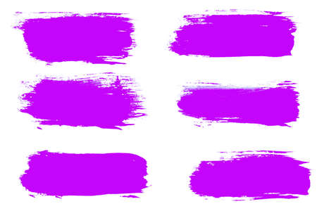 set of violet brush strokes isolated on a white background.