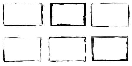 set of black frames isolated on white background Фото со стока