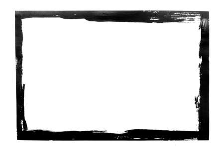 Black grunge frame isolated on white background.