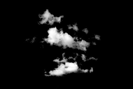 fluffy white cloud isolated on black background
