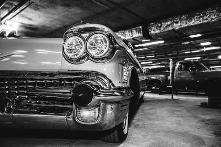 Retro car. black and white photography