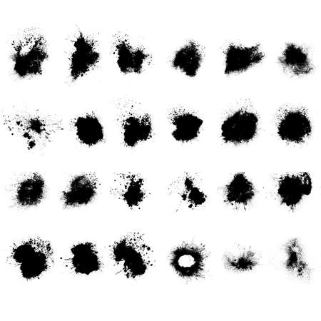 set of black splashes with splashes isolated on white