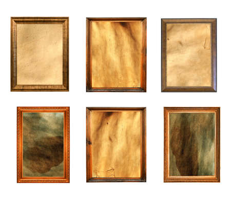 set of vintage paintings isolated on white