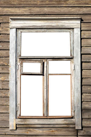 window in an old wooden house. isolated on white background. High quality photo Foto de archivo