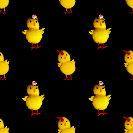 yellow chicken on a black background. seamless pattern. High quality photo Foto de archivo - 168169276