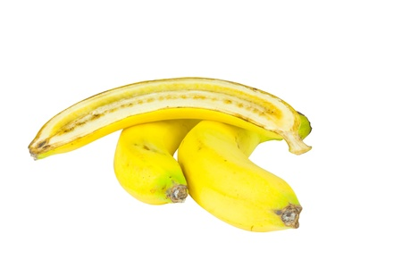 bisected: Two whole bananas and bisected banana isolated on the white background