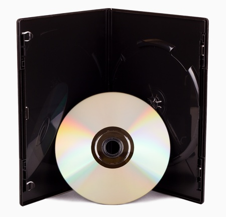 The open black DVD case with disk before it isolated on white photo