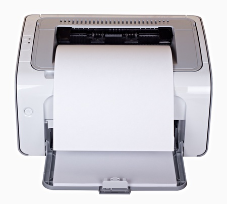 White laser printer with blank paper isolated on white photo
