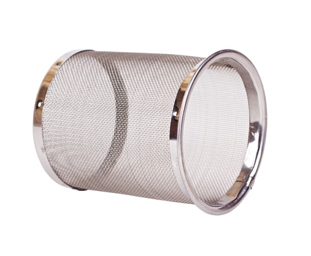 The closeup round metallic strainer for a teapot isolated photo