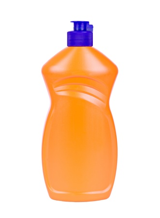 The orange bottle with a blue cap for hygiene products isolated photo