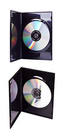 The open black plastic DVD case with an inserted DVD disk inside from two different views  isolated on white photo