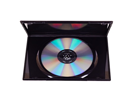 The open black plastic DVD case with an inserted DVD disk inside isolated on white Stock Photo - 16509353